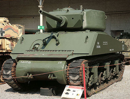 M4A3E2 Sherman Jumbo. Many units replaced the original 75 mm gun with a 76 mm gun M4A3E2 Sherman Jumbo 75mm gun.jpg