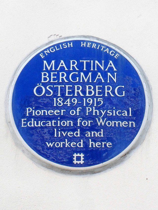 Martina Bergman-Österberg blue plaque - Martina Bergman Osterberg 1849-1915 pioneer of Physical Education for Women lived and worked here
