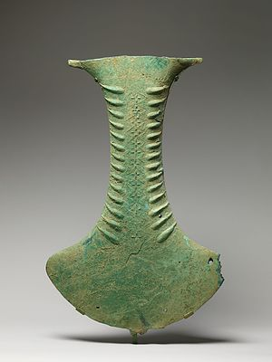 Indonesian ceremonial bronze axes - This ceremonial bronze axe found in Sulawesi bears similarity with other bronze axe objects e.g. in Rote Island, which may be used for ceremonial objects as a percussive instrument or as a water vessel.