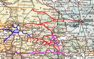 Magdeburg–Halberstadt Railway Company - Image: MHE Streckennetz