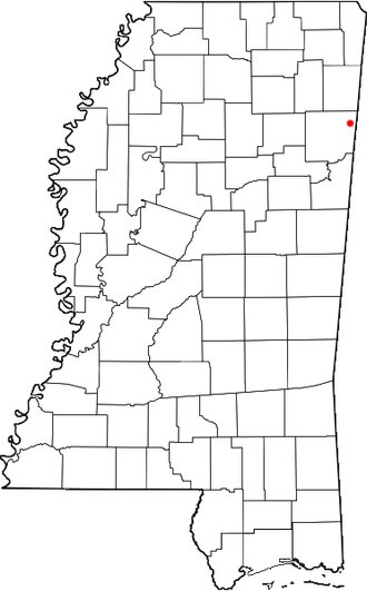 Splunge, Mississippi - Image: MS Map doton Splunge