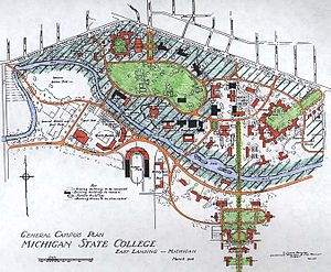 Campus of Michigan State University - T. Glenn Phillips' 1926 campus plan