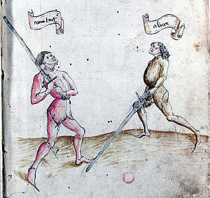 German school of fencing - fol. 2r, showing vom tag and alber