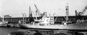 Czechoslovak Sea Shipping - MS Pionýr in harbor of Constanţa, Romania (1961)