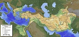 L'impero ellenistico di Alessandro Magno alla sua massima espansione