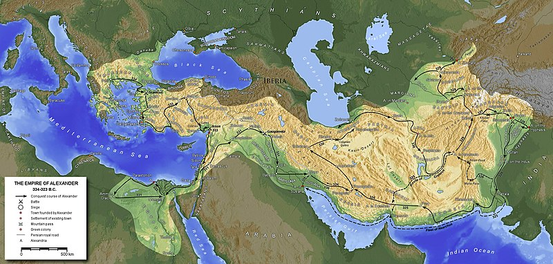 Map of the Hellenized Macedonian Empire, established by the military conquests of Alexander the Great in 334-323 BC. MacedonEmpire.jpg