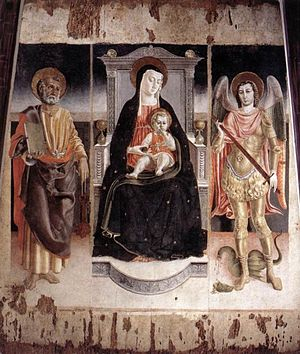 Lorenzo da Viterbo - Madonna Enthroned with the Infant Christ, St Peter and St Michael (1472), Galleria Nazionale d'Arte Antica, Rome