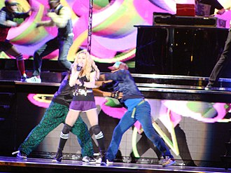 "Madonna and her dancers performing ""Music"" during the show Madonna Day (2859214445) (cropped).jpg"