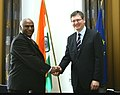 Mallikarjun Kharge with the European Union Commissioner for Employment, Social affairs and Equal Opportunities, Mr. Laszlo Andor, at the India-EU Summit, at Brussels on July 05, 2010.jpg