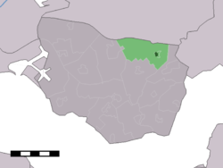 The village centre (dark green) and the statistical district (light green) of 's-Heer Abtskerke in the municipality of Borsele.