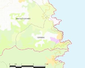 Cerbère - Map of Cerbère and its surrounding communes