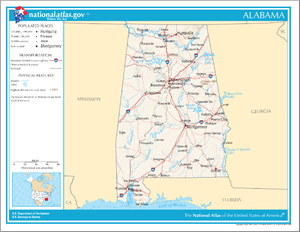 Outline of Alabama - An enlargeable map of the state of Alabama