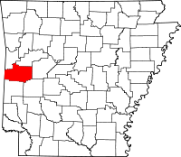 Map of Arkansas highlighting Scott County