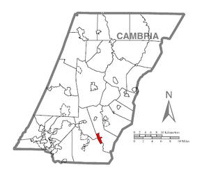 Map of Beaverdale-Lloydell, Cambria County, Pennsylvania Highlighted.png