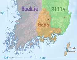 Map showing the approximate location of selected Gaya polities relative to Silla and Baekje