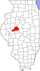 Map of Illinois highlighting Mason County
