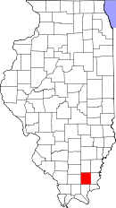 Map of Illinois highlighting Saline County