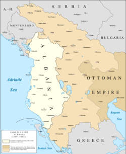 Map of the boundaries and controlled areas of Albania after its declaration of Independence.