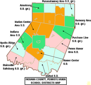 Map of Indiana County Pennsylvania School Districts.png