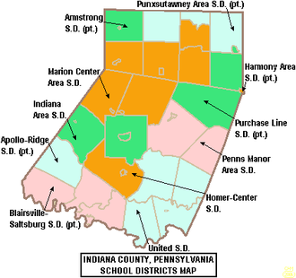 Indiana County, Pennsylvania - Map of Indiana County, Pennsylvania Public School Districts