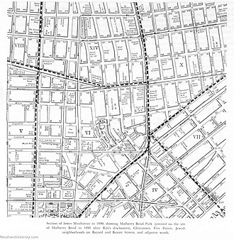 How the Other Half Lives - A map of the area Jacob Riis surveyed while collecting material for How the Other Half Lives.