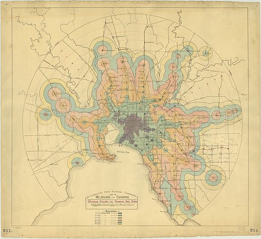Map of Melbourne and environs minimum railway or tramway time zones