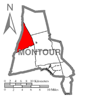 Map of Montour County, Pennsylvania Highlighting Limestone Township
