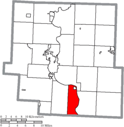 Location of Harrison Township in Muskingum County