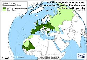 Aquatic Warbler Memorandum of Understanding - Map of signatories to the Aquatic Warbler MoU, as of 15 August 2012
