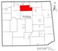 Map of Tioga County Pennsylvania Highlighting Farmington Township.PNG