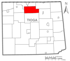 Map of Tioga County Highlighting Farmington Township