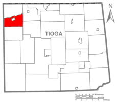 Map of Tioga County Highlighting Westfield Township