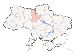 Location o Kiev Oblast (red) athin Ukraine (blue)