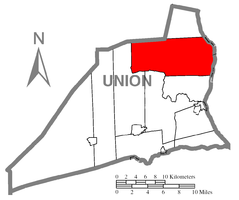 Map of Union County, Pennsylvania highlighting White Deer Township