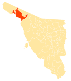 Location of the municipality in Sonora.