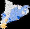 Mapa de municipis de Catalunya amb colla castellera - temporada 2013.png