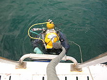 A diver wearing a lightweight helmet with surface supply umbilical and a single back mounted bailout cylinder is shown from above, partly in the water, climbing a boarding ladder on the side of a boat.