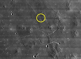 Marius Hills - The Bellcom/USGS proposed landing site northwest of Marius crater (not shown) and north of two prominent, unnamed rilles in the region. This photo is an enlarged section of the Lunar Orbiter 4 photo above.