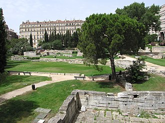 Greeks in pre-Roman Gaul - Remains of the Greek harbour in the Jardin des Vestiges in central Marseille, the most extensive Greek settlement in pre-Roman Gaul