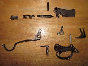 Martini–Henry - The disassembled Martini–Henry action.