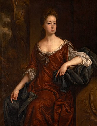 Sir William Morice, 1st Baronet - Mary Morice (d.1698), daughter of Sir William Morice, 1st Baronet (c.1628-1690) of Werrington, Devon, and 3rd wife of Sir John Carew, 3rd Baronet (1635-1692) of Antony.  Painted by John Riley, c.1682, Collection of Antony House, National Trust