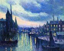 Maximilien Luce-The Port of Rotterdam, Evening