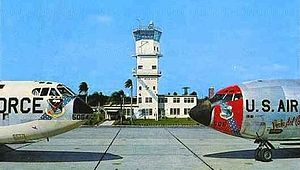 McCoy Air Force Base - Postcard from McCoy AFB in the early 1960s, showing the McCoy AFB control tower and base operations building, Boeing B-52D-5-BW Stratofortress, AF Serial No. 55-5054, and Boeing KC-135A-BN Stratotanker, AF Serial No. 57-1506, of the 4047th Strategic Wing.