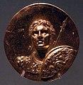 Medaglioni aurei romani da tesoro di aboukir, inv. 2430 busto corazzato di alessandro con scudo e diadema.jpg