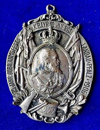 Prince Ludwig Ferdinand of Bavaria - Ludwig Ferdinand, Prinz von Bayern,  1906 medal for the 25th anniversary of his regiment in Landau in der Pfalz.