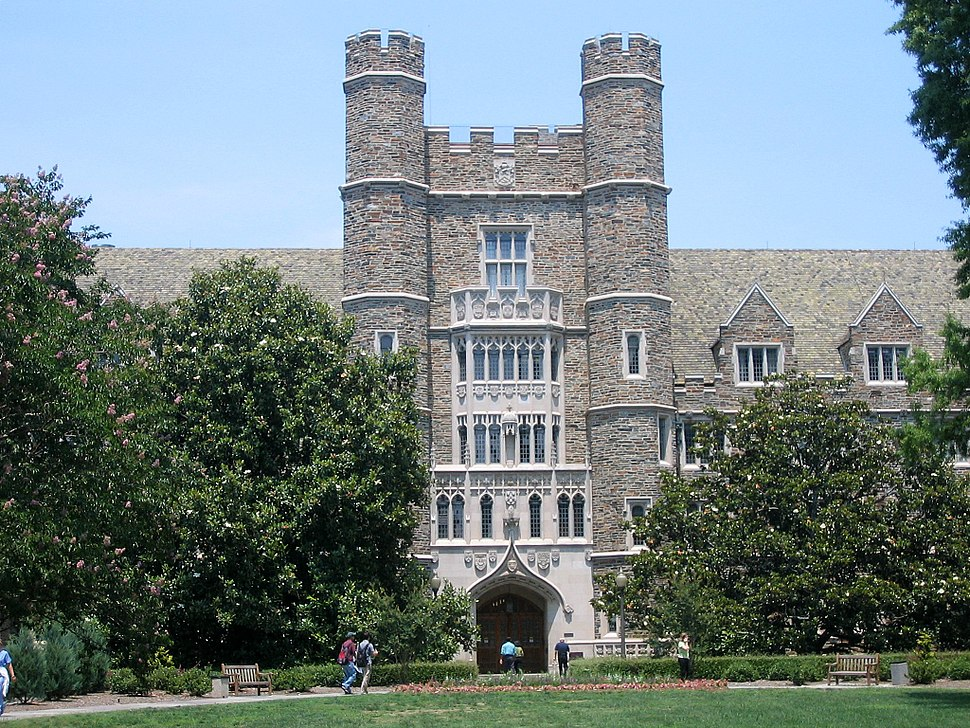 Gothic-style four story exterior of a building with castle-like turrets