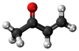 Ball-and-stick model of the methyl vinyl ketone molecule
