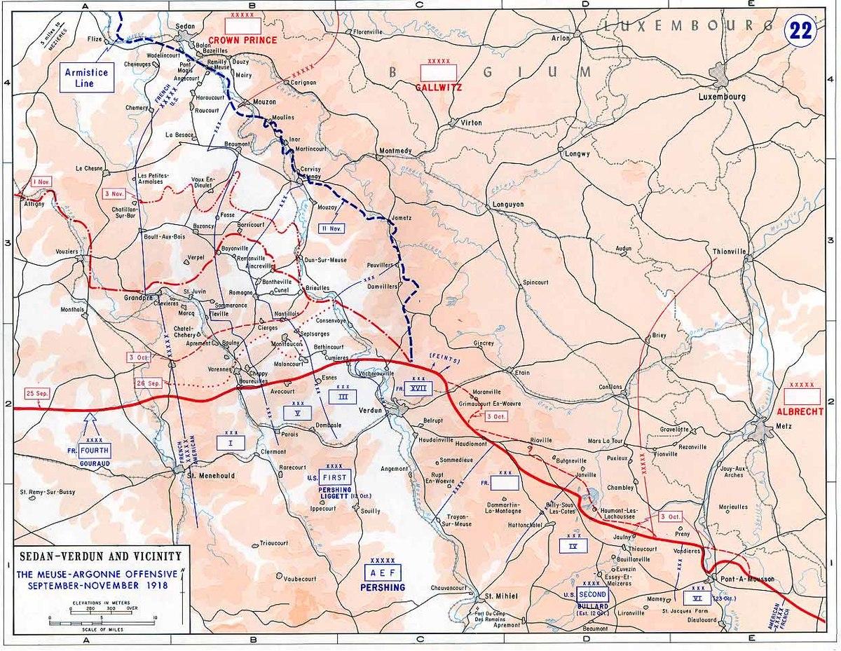 MeuseArgonne Offensive Wikipedia - 1917 1918 us in europe battles map