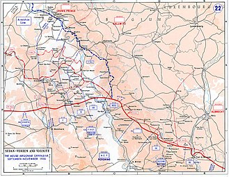Meuse-Argonne Offensive - Map of the area, 1918