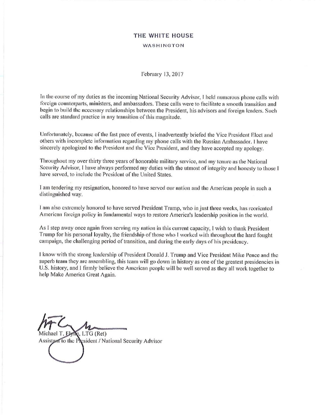 Page:Michael Flynn Resignation Letter.pdf/1 - Wikisource, the free ...